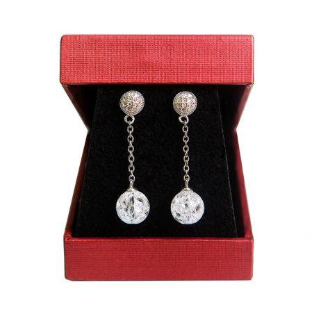 Silver earrings crystal ice My Way