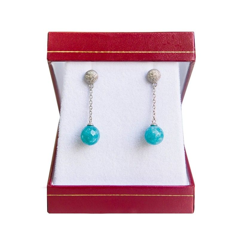 Silver earrings agate turquoise My Way