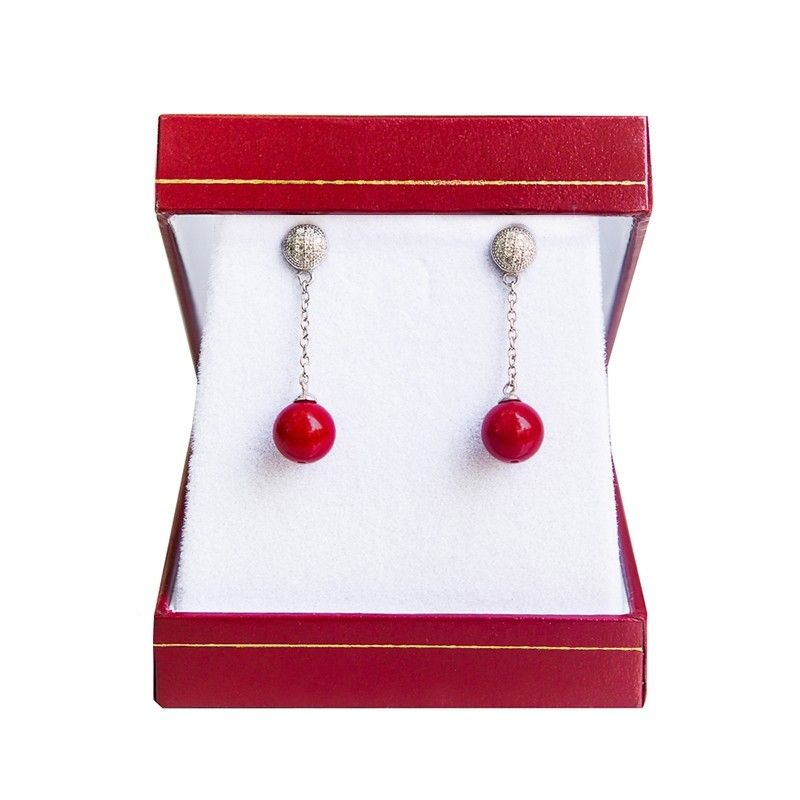 Silver earrings red coral My Way