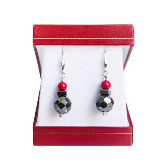 Hematite and silver red coral earrings