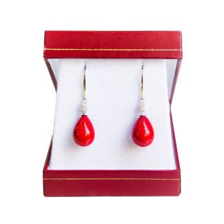 Silver drop earrings red coral