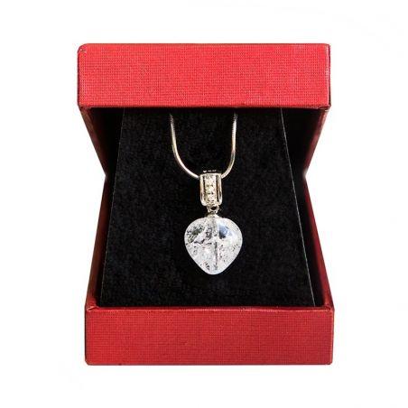 Colier argint cristal de gheata inima