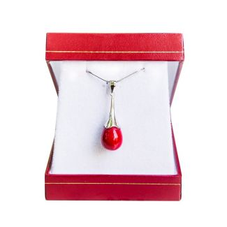 Silver pendant red coral drops