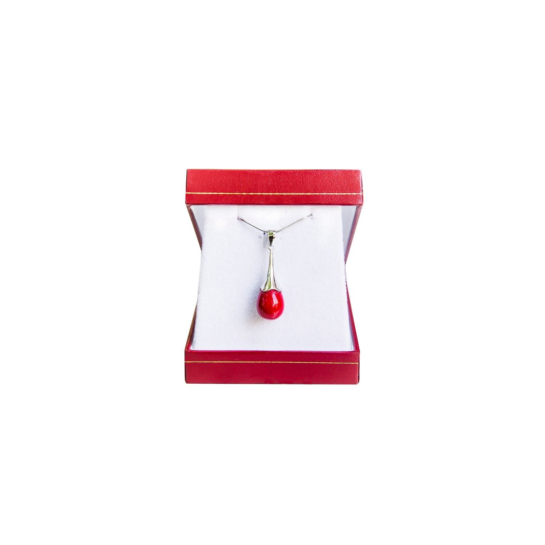 Silver pendant red coral drops