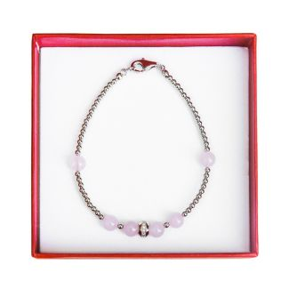 Silver and rose quartz bracelet Irresistible