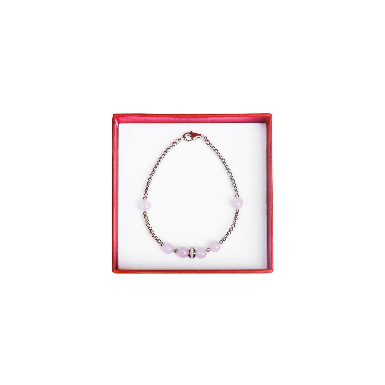 Silver and rose quartz bracelet Irresistible