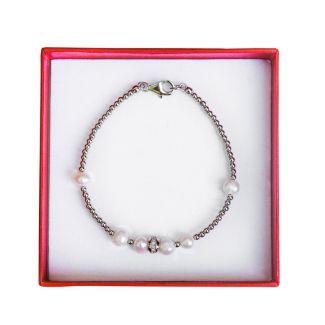 Bratara argint si perle albe Irresistible