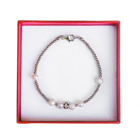 Silver and white pearl bracelet Irresistible