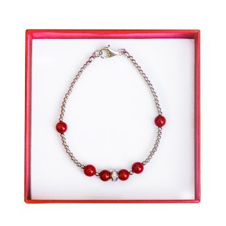 Irresistible silver and red coral bracelet