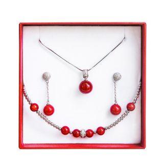 Set bijuterii argint coral rosu
