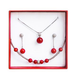 Silver jewelry set coral red