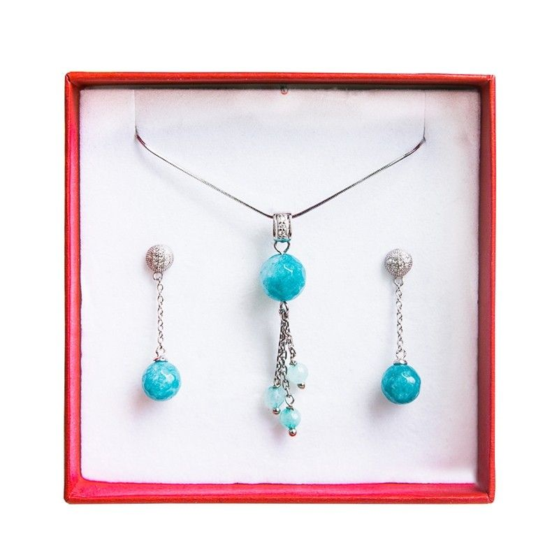 Agate silver turquoise jewelry set