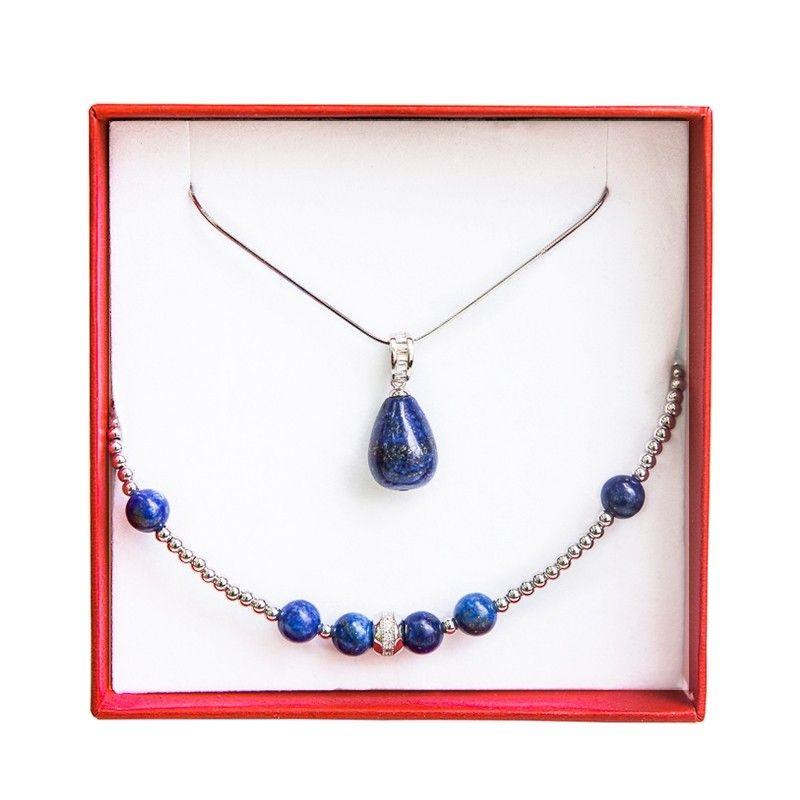 Set silver jewelry lapis lazuli