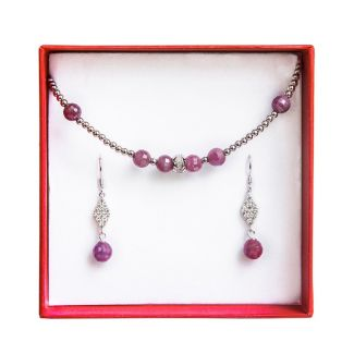 Silver jewelry set ruby