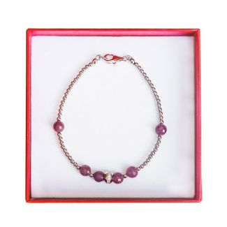 Silver jewelry set ruby