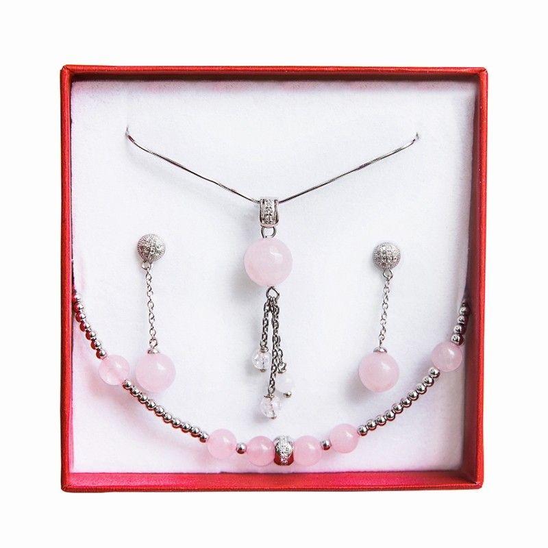 Set bijuterii argint cuart roz