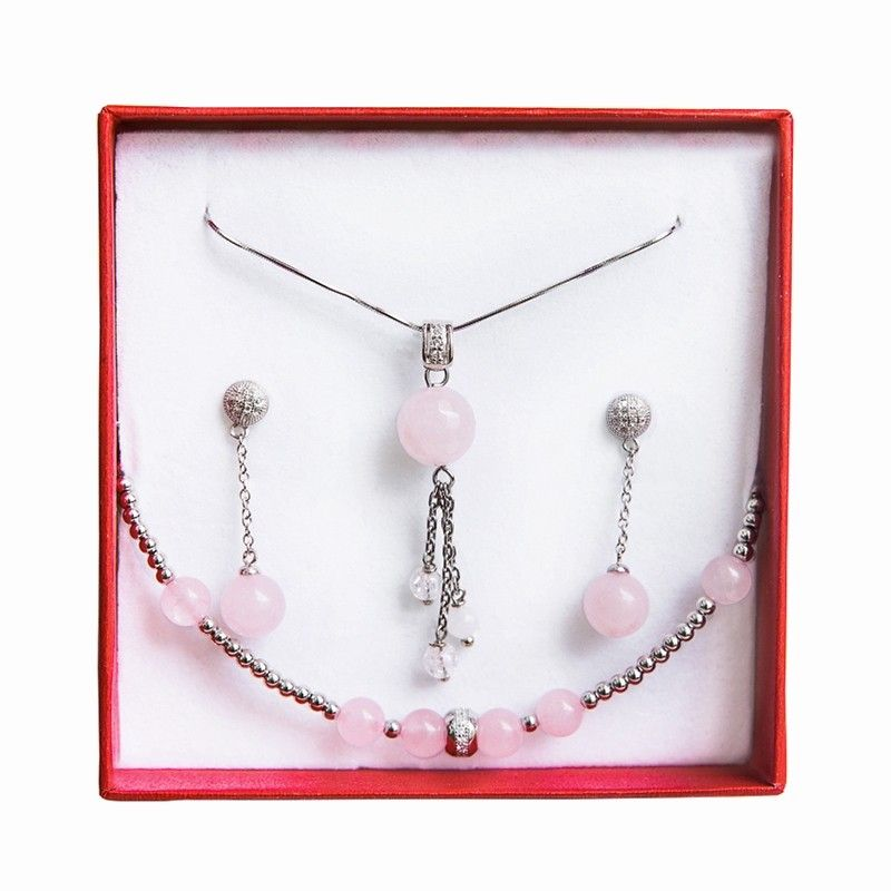 Set silver rose quartz jewelry