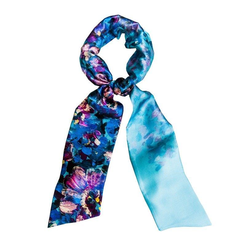 Eşarfă mătase naturală Blue Opium