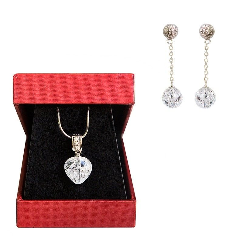 GIFT: Silver heart pendant ice crystal and silver earrings crystal ice My Way
