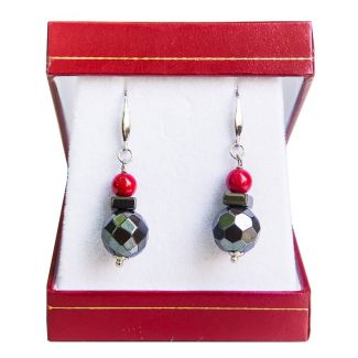 GIFT: Silk scarf Rouge Intense hematite and silver and red coral earrings