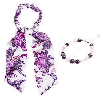 GIFT: Grace silk scarf and bracelet amethyst, rose quartz and crystal ice
