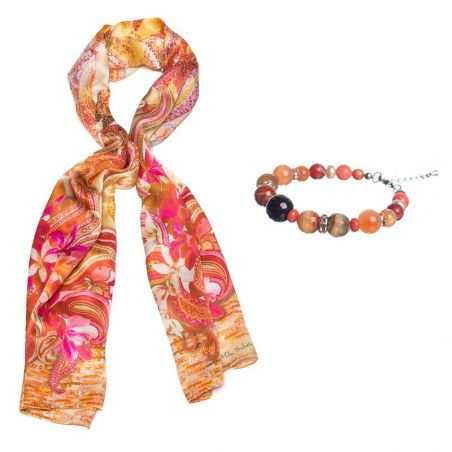 GIFT: Mila Schon Sal silk hydrangeas pink and orange agate and rose quartz bracelet