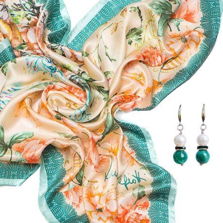 CADOU: Esarfa matase naturala Laura Biagiotti delicate flowers turcoise si Cercei argint perla alb si agat verde