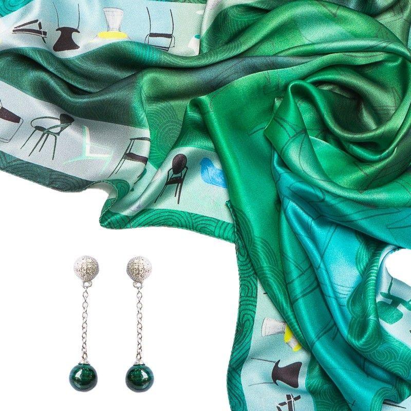 CADOU: Esarfa matase naturala Mila Schon chairs green si Cercei argint My Way malachit