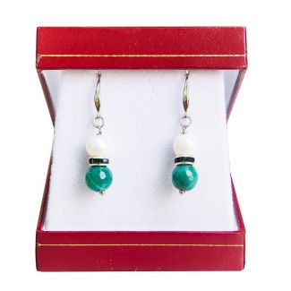GIFT: Laura Biagiotti silk scarf flowers delicate turquoise and silver earrings white pearl and green agate