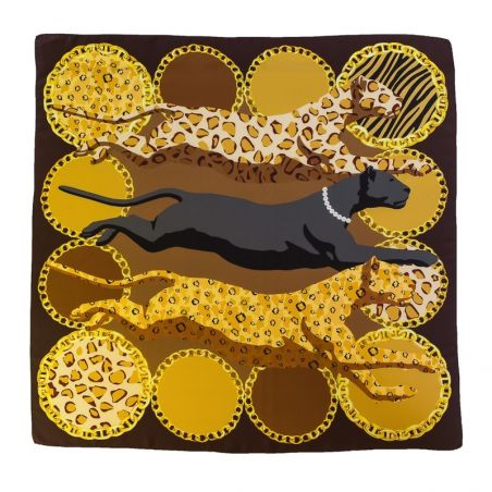 Silk Scarf Marina D'Este Wild Cats brown