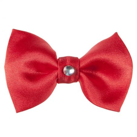 Poppy Red Swarovski bow clip