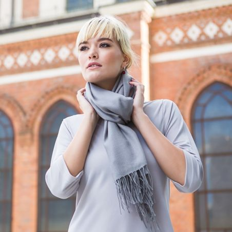 Wool Scarf Mila Schon grey