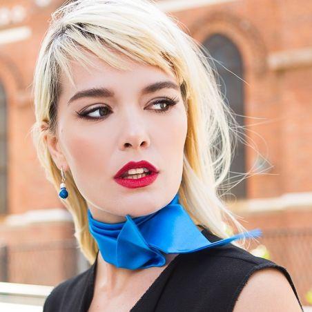 Eşarfă Skinny mătase naturală turcoaz