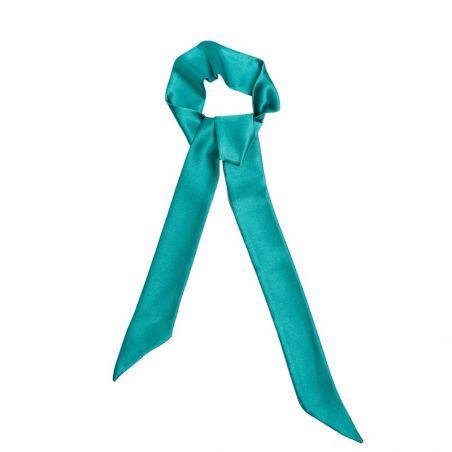 Eşarfă Skinny mătase naturală turcoaz verde