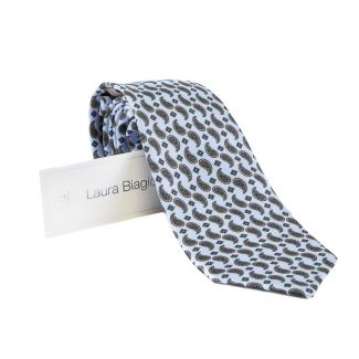 Laura Biagiotti tie out of office paisley blu