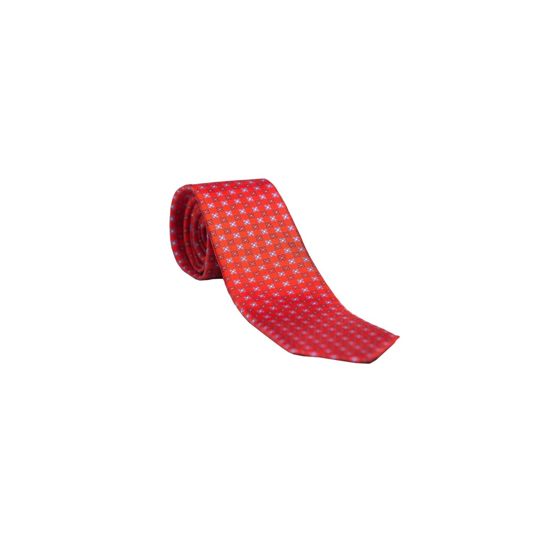 Cravata L.Biagiotti rosu cu cruciulite albastre