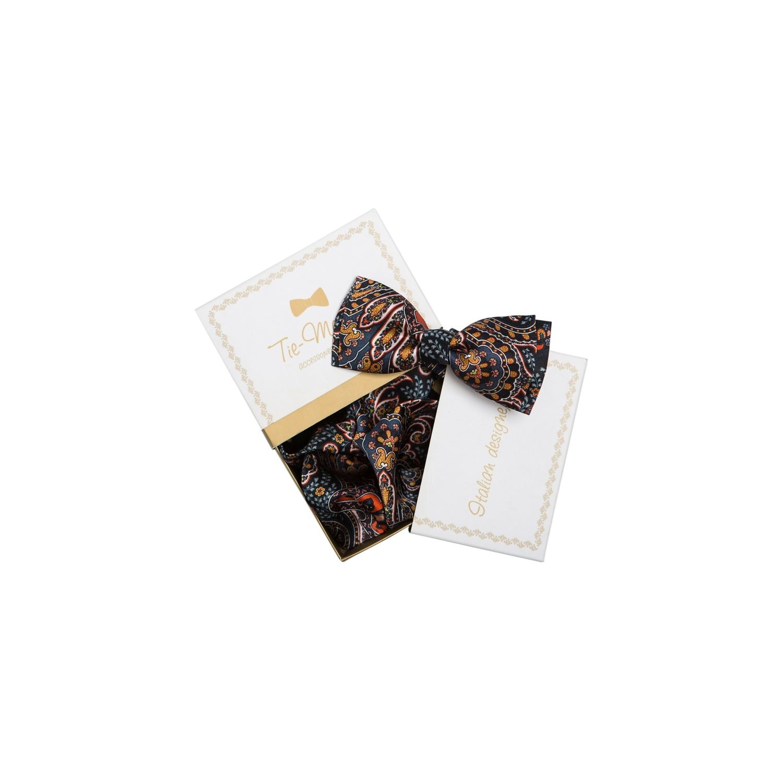 GIFT: Set handkerchief silk bow tie orange circles