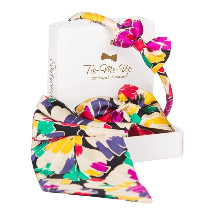 CADOU:Esarfa cu volan si headband cu fundita Toujours Colors