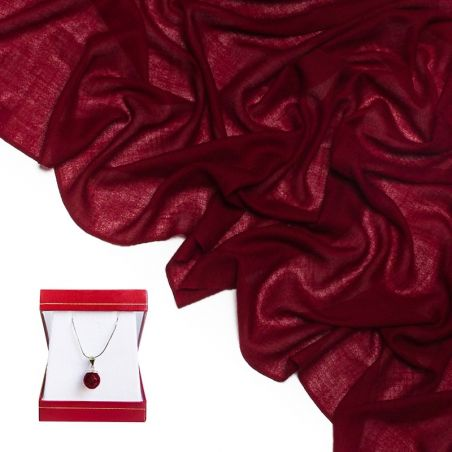 GIFT: wool and cashmere scarf Mila Schon claret and brandy agate pendant silver