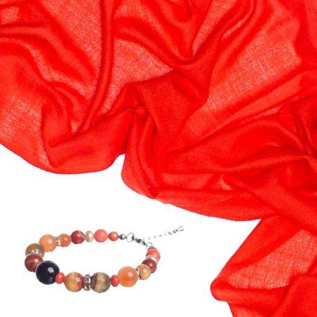 CADOU: Esarfa lana si casmir Mila Schon corai si bratara agat portocaliu si cuart roz