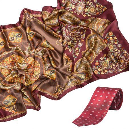GIFT: Sal Marina D`Este Cordoba claret silk and silk tie Laura Biagiotti smart dark claret