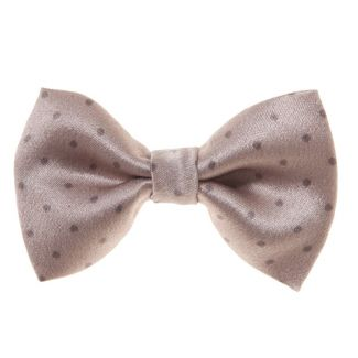 Dotted bow clip on beige