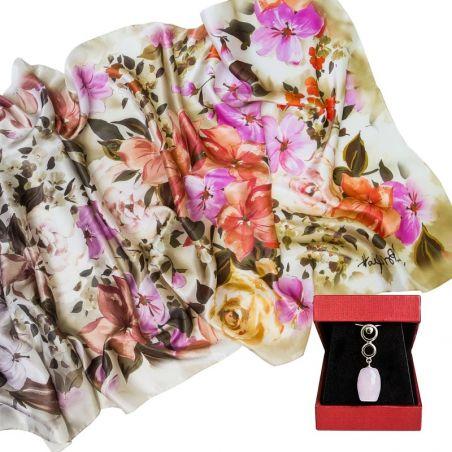 CADOU: Sal matase Laura Biagiotti little flowers corai si pandantiv din argint cuart roz tuburi fatetate