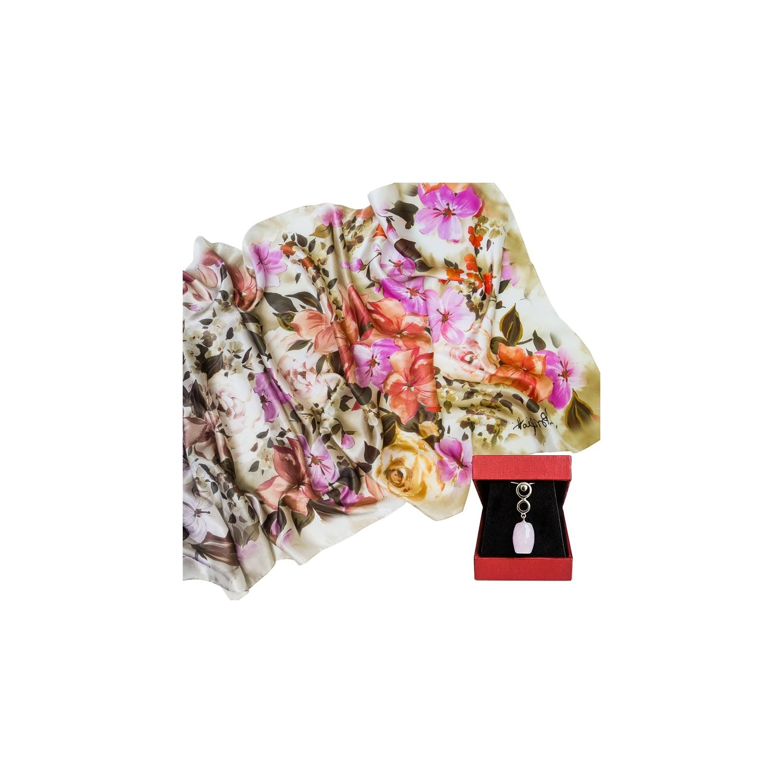 CADOU: Sal matase Laura Biagiotti little flowers corai si Pandantiv argint cuart roz tuburi fatetate