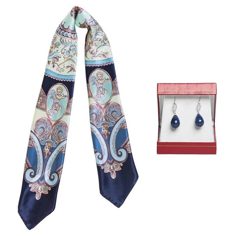 GIFT: Mila Schon silk scarf green chairs and silver earrings malachite My Way