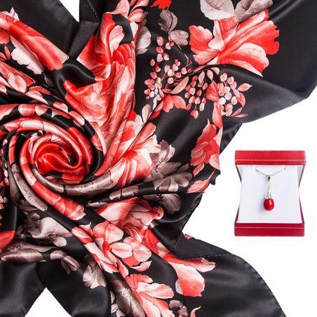 CADOU: Esarfa matase naturala Mila Schon Insieme red black si Pandantiv argint coral rosu picaturi