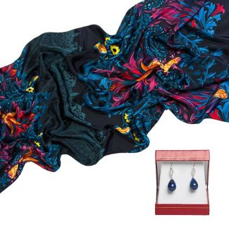 CADOU: Sal Marina D'Este arabesc blue dark si cercei lapis lazuli si rhinestone