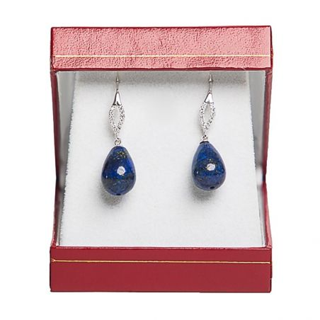 Silver cubic zirconia earrings oval lapis sharp drops