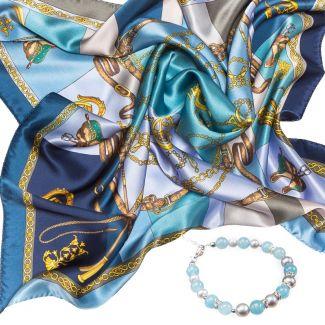 CADOU: Esarfa Marina D`Este Sienna blue si bratara angelit si perle de cultura
