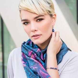 GIFT: Sal Marina D'Este arabesque dark blue lapis lazuli and rhinestone bracelet